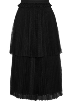 Christopher Kane Woman Tiered Pleated Point D'esprit Skirt Black