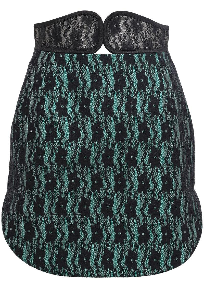 Christopher Kane Woman Two-tone Lace Mini Skirt Green