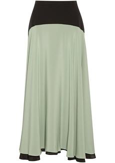 Christopher Kane Woman Two-tone Silk Crepe De Chine Midi Skirt Light Green