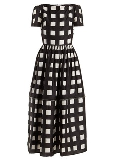 Christopher Kane Zip-hem square-print silk dress