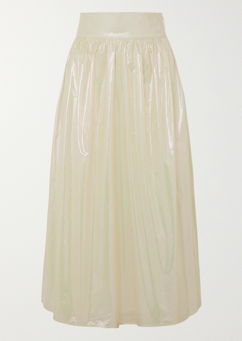 Christopher Kane Coated Cotton Midi Skirt