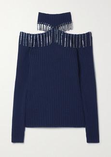 Christopher Kane Cold-shoulder Crystal-embellished Ribbed Wool Sweater