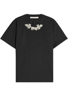 Christopher Kane Cotton T-Shirt with Crystal Embellishment
