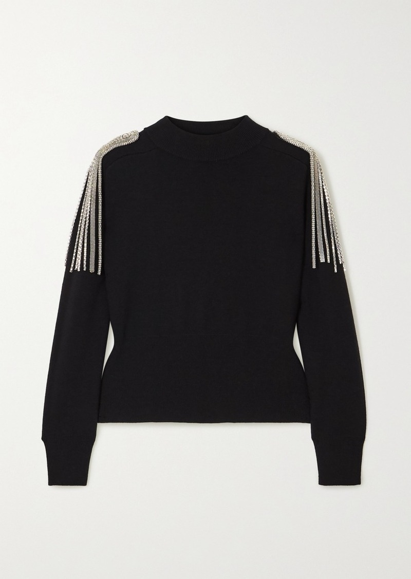 Christopher Kane Cropped Chain-embellished Merino Wool Sweater