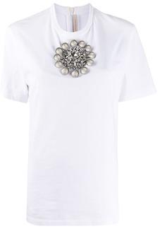 Christopher Kane crystal brooch T-shirt