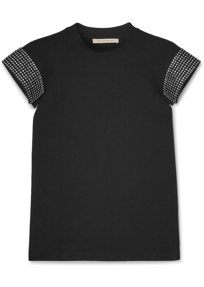 Christopher Kane Crystal-embellished Cotton-jersey T-shirt