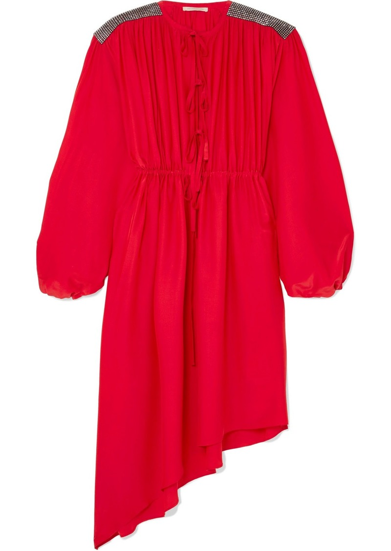 Christopher Kane Crystal Embellished Crepe De Chine Midi Dress