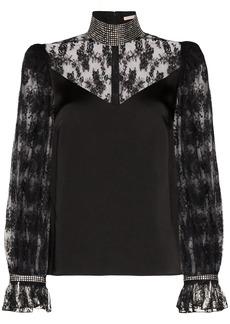Christopher Kane crystal-embellished lace blouse