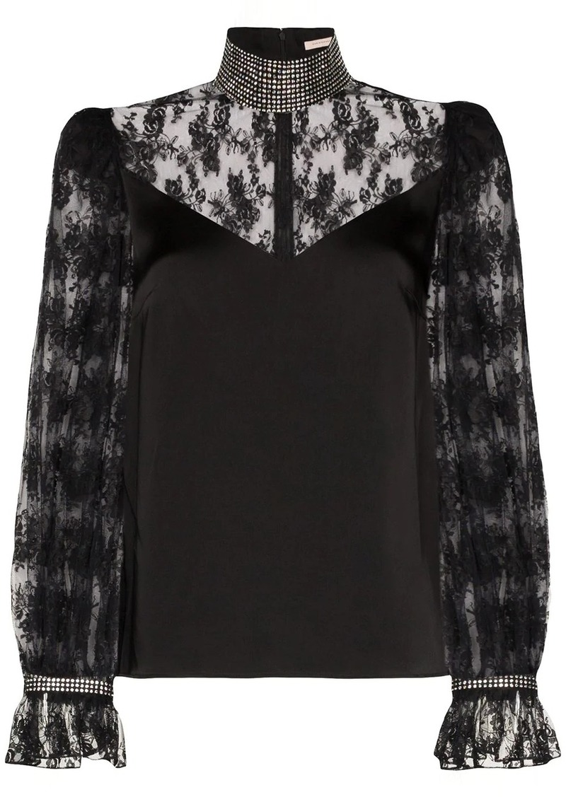 Christopher Kane crystal-embellished lace blouse