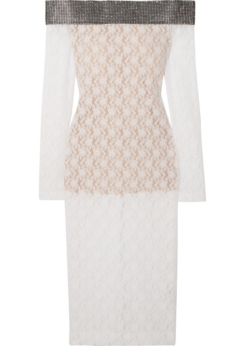 Christopher Kane Crystal-embellished Off-the-shoulder Stretch-lace Midi Dress