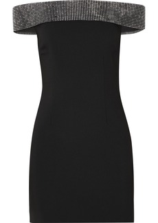 Christopher Kane Crystal-embellished Off-the-shoulder Twill Mini Dress