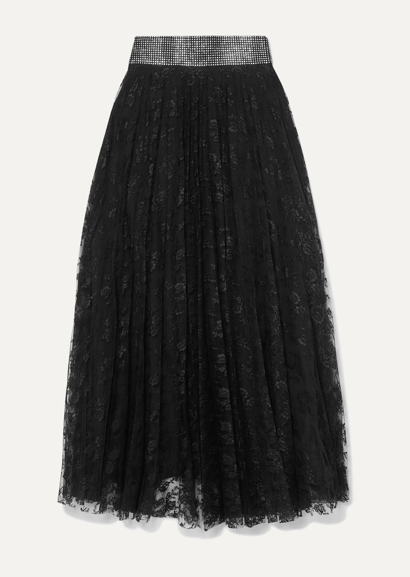 Christopher Kane Crystal-embellished Pleated Lace Midi Skirt
