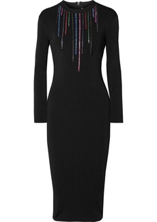 Christopher Kane Crystal-embellished Ribbed Stretch-knit Midi Dress