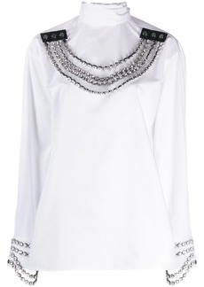 Christopher Kane crystal tie cotton blouse