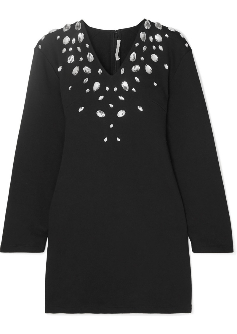 Christopher Kane Cutout Crystal-embellished Stretch Cotton-blend Jersey Mini Dress