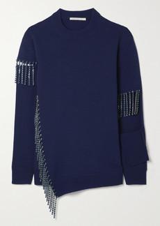 Christopher Kane Cutout Crystal-embellished Wool Sweater