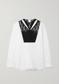 Christopher Kane Cutout Lace-paneled Cotton-poplin Shirt