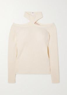 Christopher Kane Cutout Ribbed Wool Sweater
