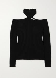 Christopher Kane Cutout Ribbed Wool Turtleneck Sweater