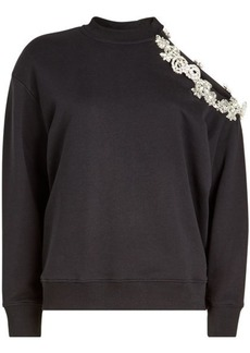 Christopher Kane DNA Asymmetric Sweat Top with Embellishment
