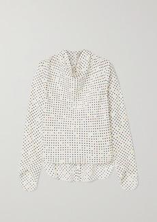 Christopher Kane Draped Polka-dot Cotton And Silk-blend Jacquard Blouse