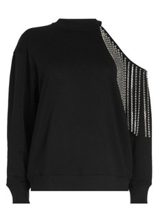 Christopher Kane Embellished Cotton Sweatshirt with Cut-Out Shoulder