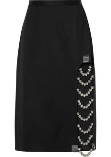 Christopher Kane Embellished Leather-trimmed Satin Skirt