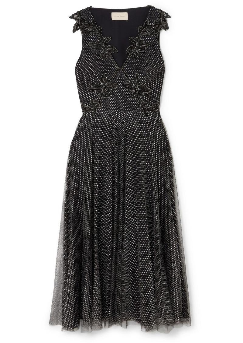 Christopher Kane Embellished Metallic Point D'esprit Tulle Midi Dress
