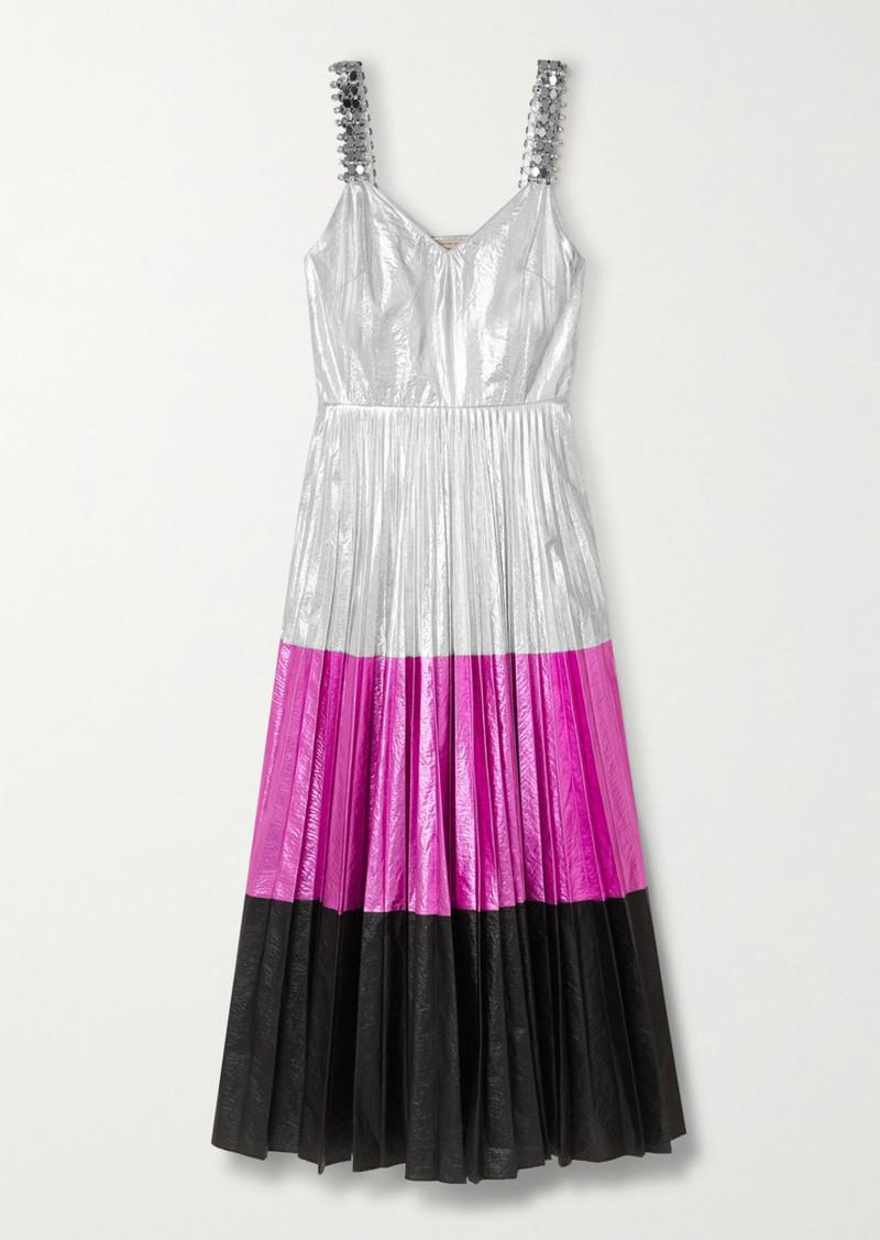 Christopher Kane Embellished Pleated Color-block Crinkled-lamé Midi Dress