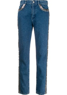 Christopher Kane embellished stripe jeans