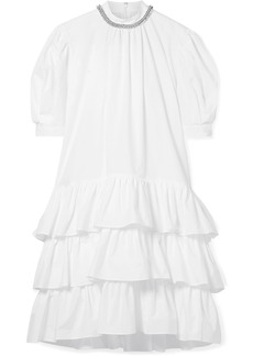Christopher Kane Embellished Tiered Cotton-poplin Dress