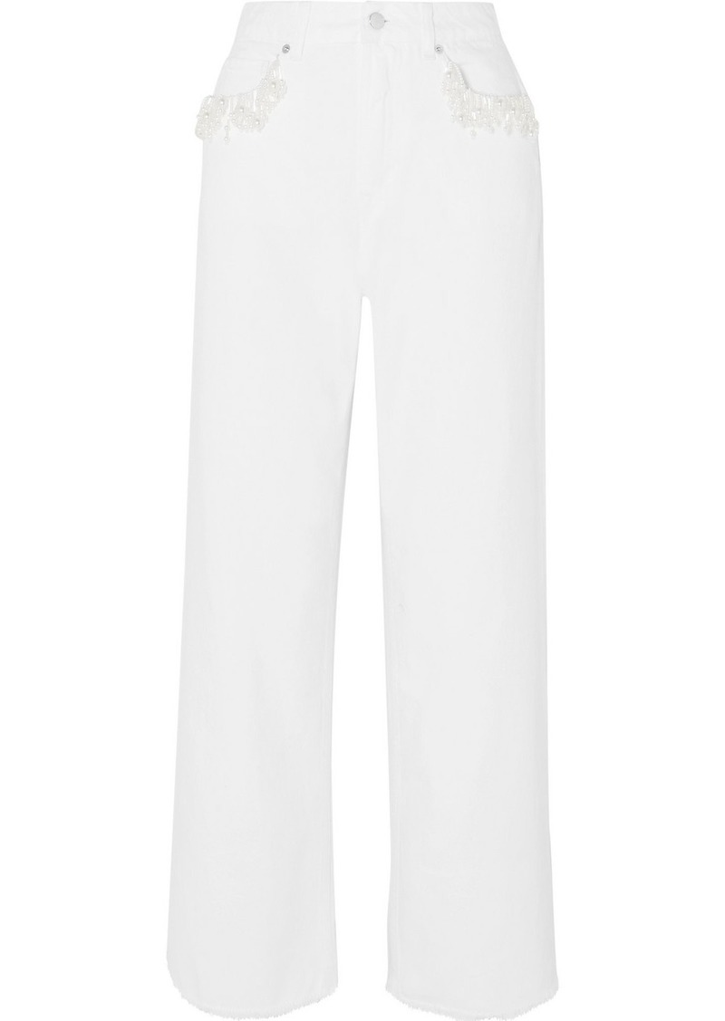 Christopher Kane Faux Pearl-embellished High-rise Straight-leg Jeans