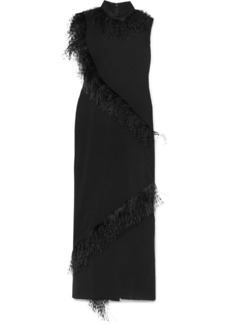 Christopher Kane Feather-trimmed Crepe Gown