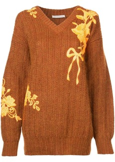 Christopher Kane floral-embroidered sweater