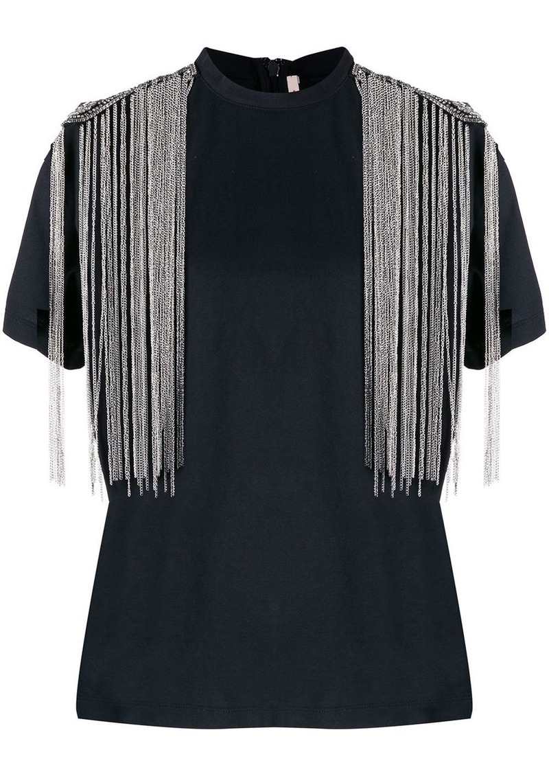 Christopher Kane fringed embellished shoulders T-shirt