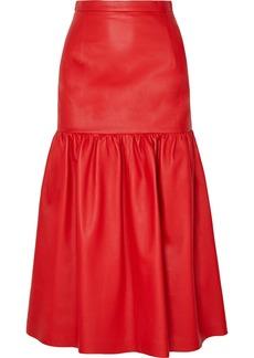Christopher Kane Gathered Leather Midi Skirt