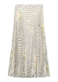 Christopher Kane Gingham Organza Pleated Silk Skirt
