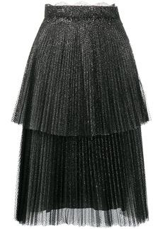 Christopher Kane glitter tulle tiered pleated skirt