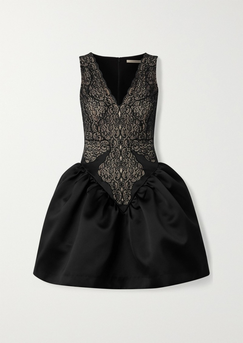 Christopher Kane Lace And Duchesse-satin Mini Dress