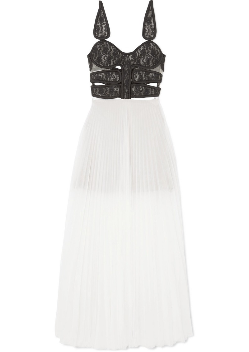 Christopher Kane Lace And Pleated Chiffon Maxi Dress