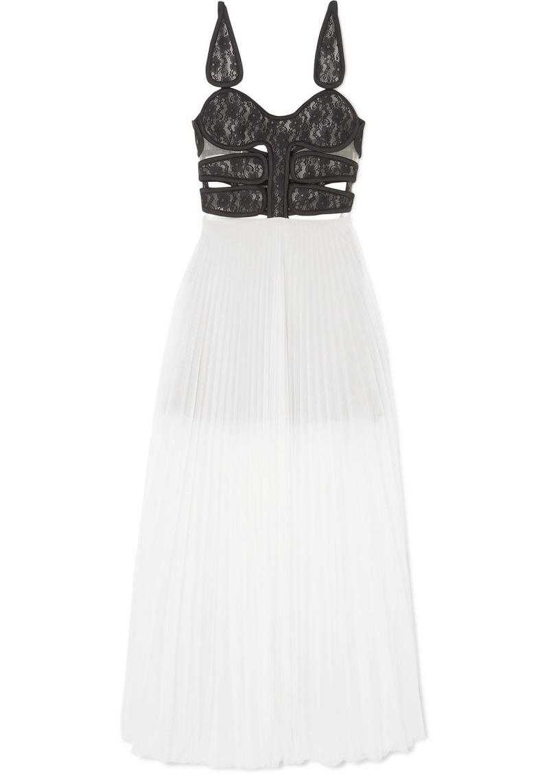 Christopher Kane Lace And Pleated Chiffon Maxi Dress