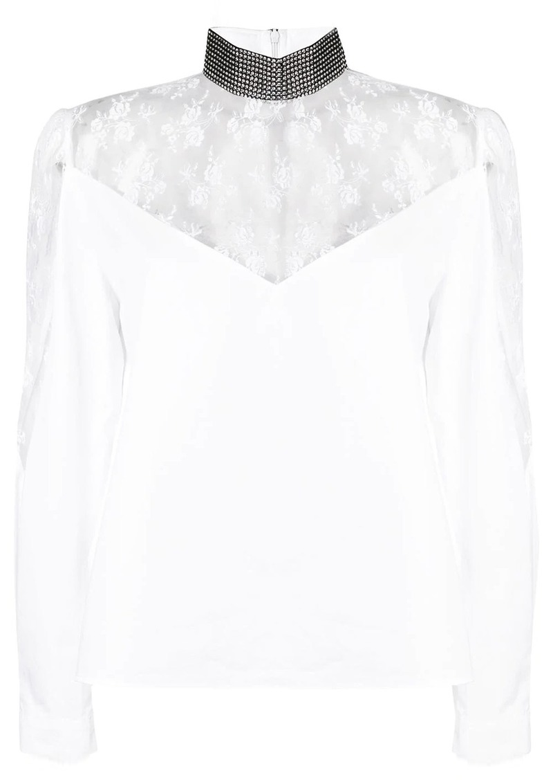 Christopher Kane lace poplin crystal blouse