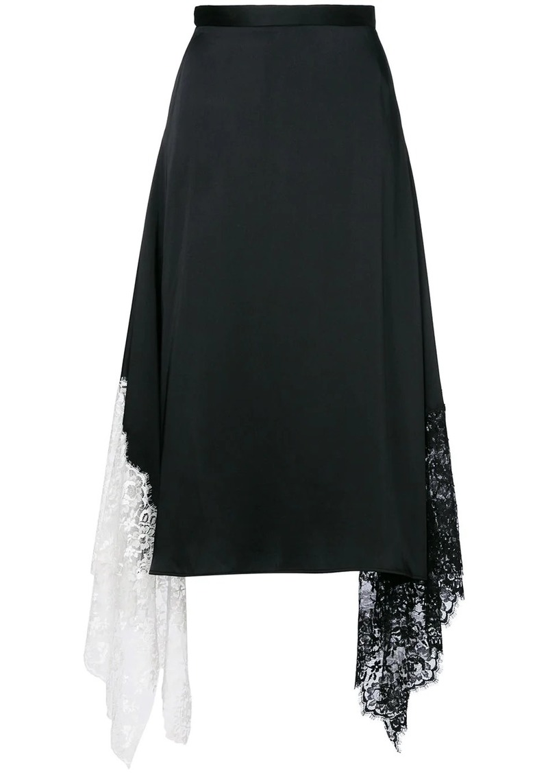 Christopher Kane lace trim satin skirt