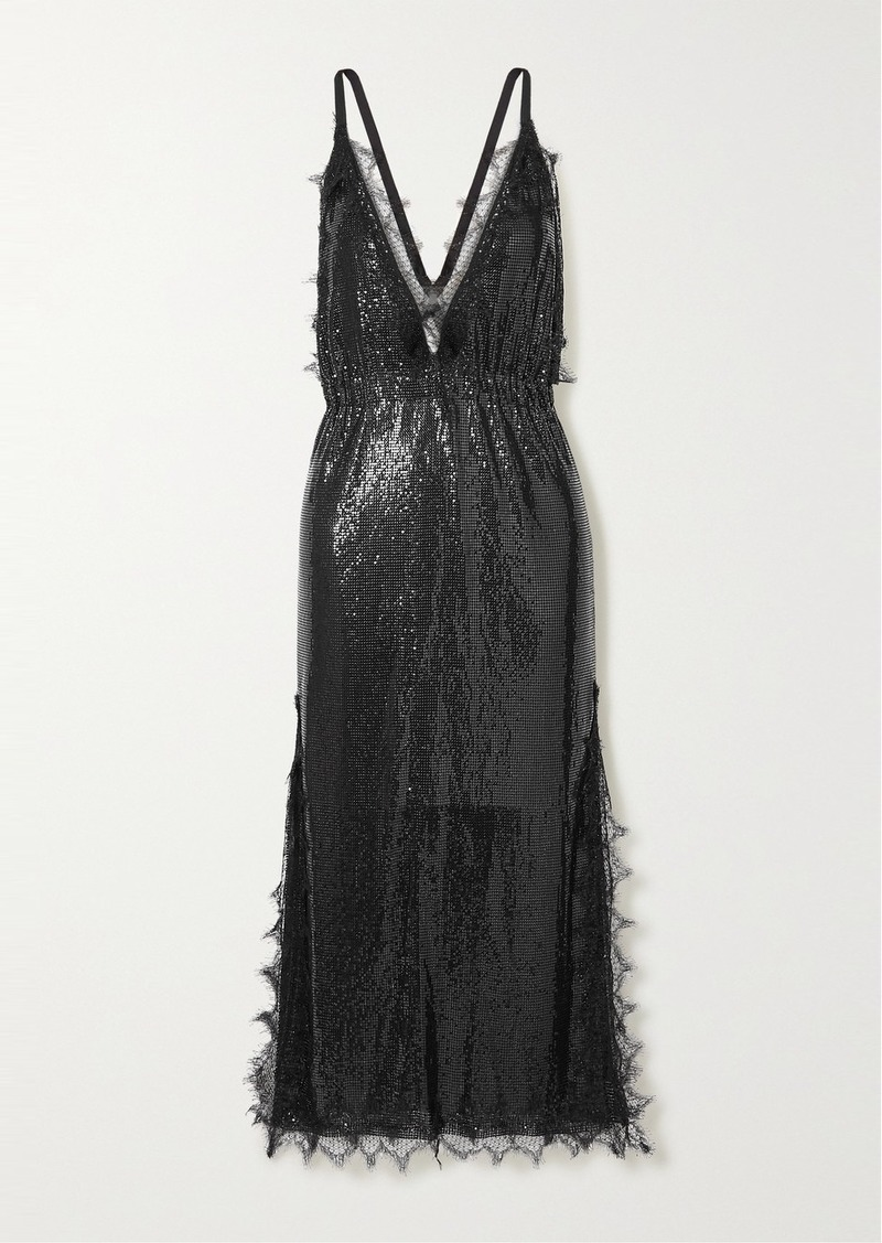 Christopher Kane Lace-trimmed Chainmail Midi Dress