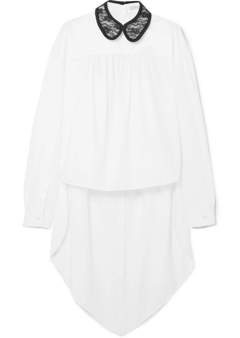 Christopher Kane Lace-trimmed Cotton-poplin Shirt
