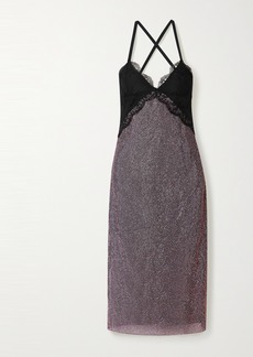 Christopher Kane Lace-trimmed Crystal-embellished Chainmail Midi Dress