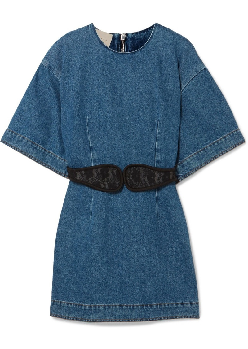 Christopher Kane Lace-trimmed Denim Mini Dress