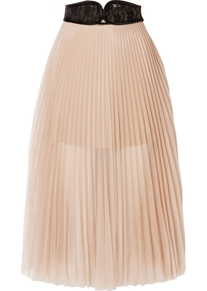 Christopher Kane Lace-trimmed Pleated Chiffon Skirt