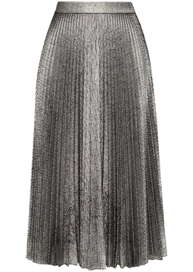 Christopher Kane metallic pleated midi skirt
