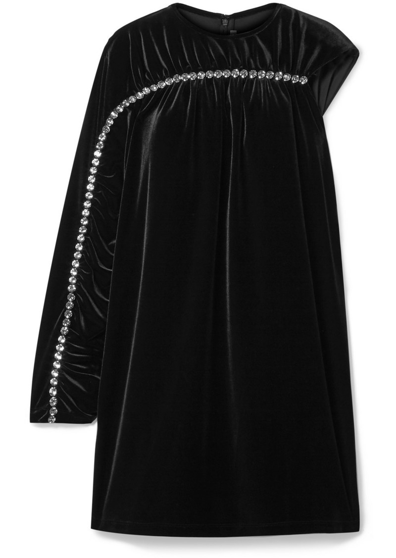 Christopher Kane One-sleeve Crystal-embellished Velvet Mini Dress
